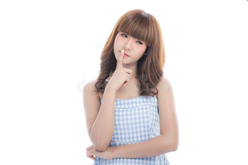 Молодая дама в проверенном платье стоковые фото