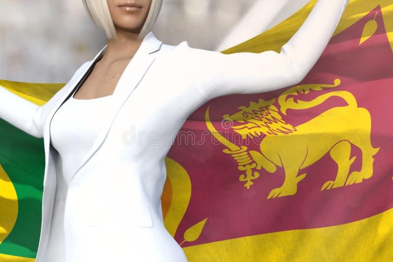 Молодая дама дела держит флаг в руках за ее задней частью на предпосылке офисного здания - иллюстрацию Шри-Ланка концепции 3d фла иллюстрация штока