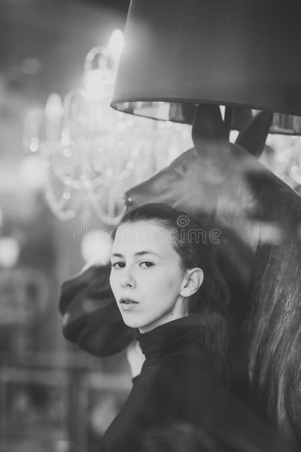Молодая дама с задумчивой стороной обнимает голову лошадей Концепция женственности стоковое изображение rf