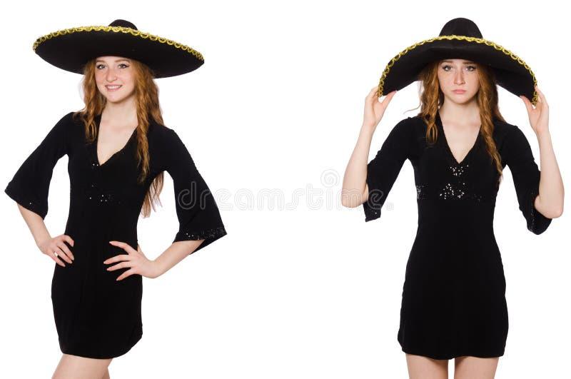 Молодая дама redhead в черном платье с черным sombrero стоковые изображения rf