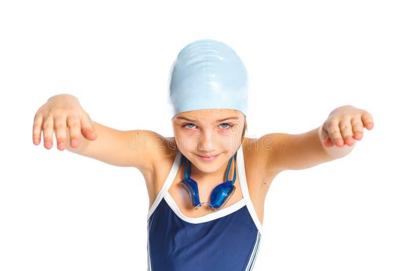 Молодая девушка пловца стоковые фотографии rf
