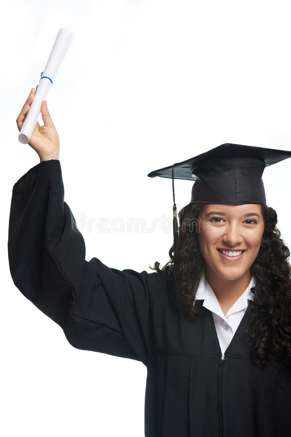 Молодая девушка студента с дипломом стоковые фотографии rf