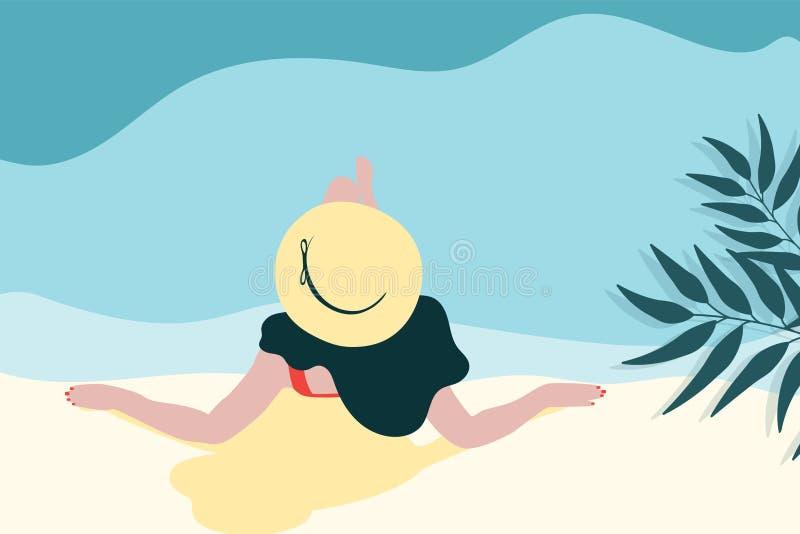 Молодая длинн-с волосами девушка в sunbath шляпы иллюстрация штока