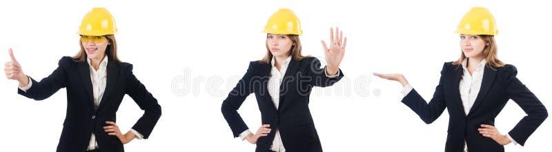 Молодая женщина-архитектор изолирована от белого стоковое фото
