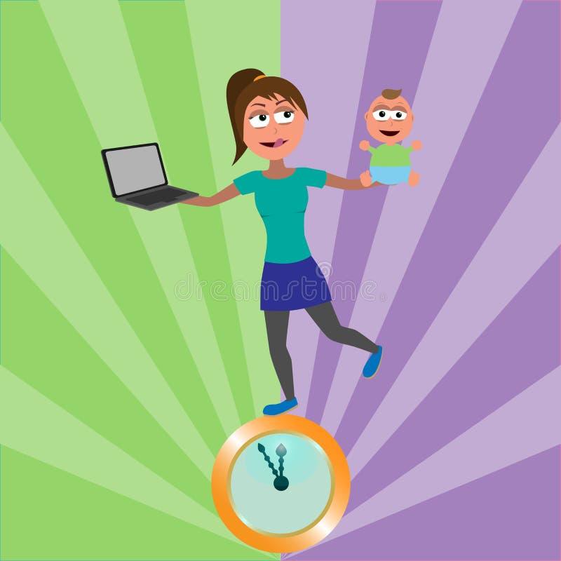 Молодая женщина балансируя на золотых часах с младенцем бесплатная иллюстрация