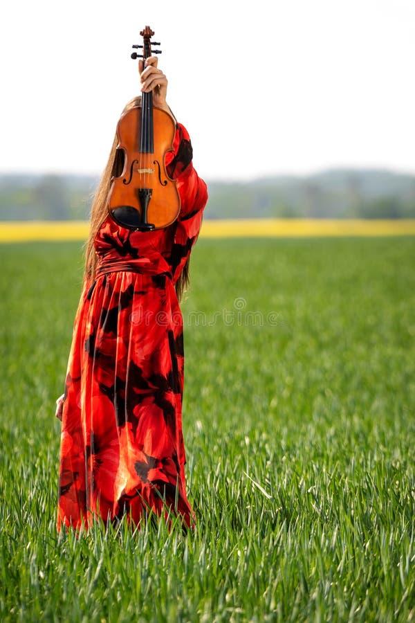 Молодая женщина в красном платье со скрипкой в зеленом луге - изображении стоковая фотография