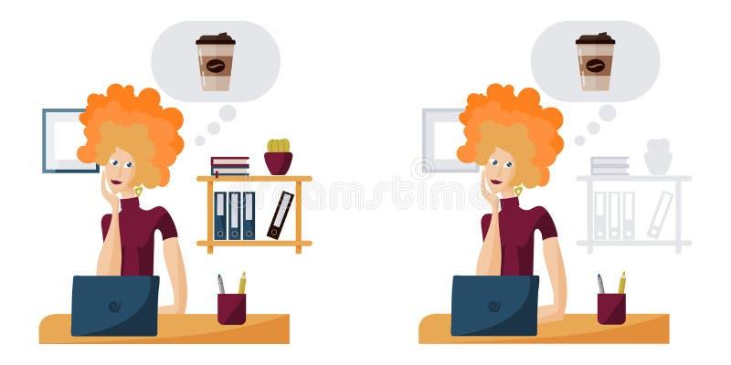 Молодая женщина в мечтах офиса кофе бесплатная иллюстрация