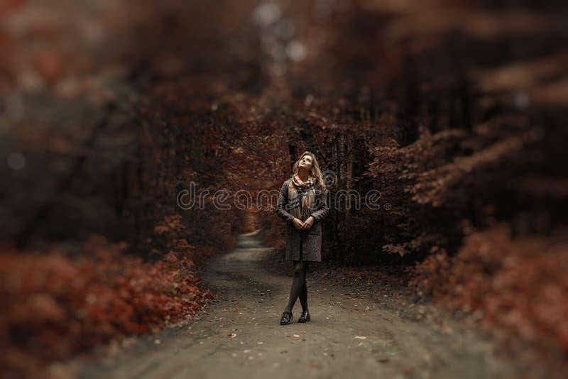 Молодая женщина в пальто и шарф идут в изумительный парк стоковая фотография rf
