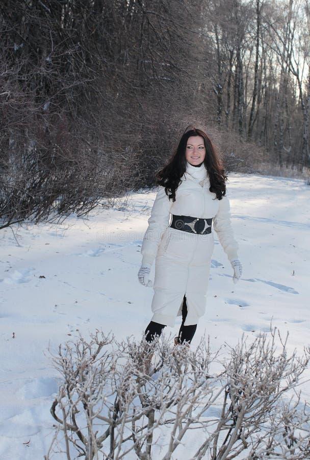 Молодая женщина в парке зимы стоковые фото