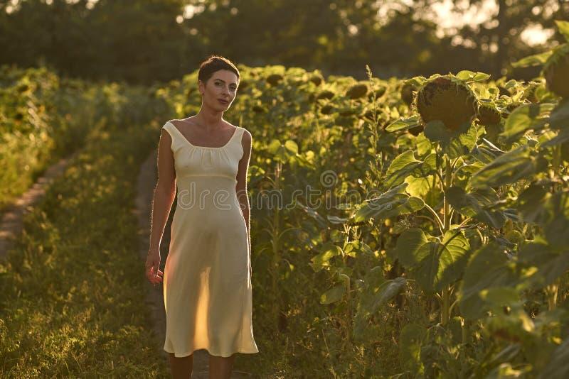 Молодая женщина в поле солнцецветов на заходе солнца стоковое изображение