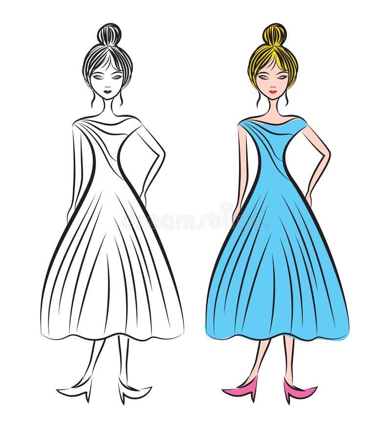 Молодая женщина в различной иллюстрации вектора платьев, модели моды женской, красивой модели девушки, стиле моды иллюстрация штока