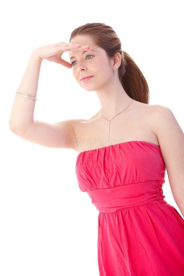 Молодая женщина в шикарном платье стоковые изображения rf
