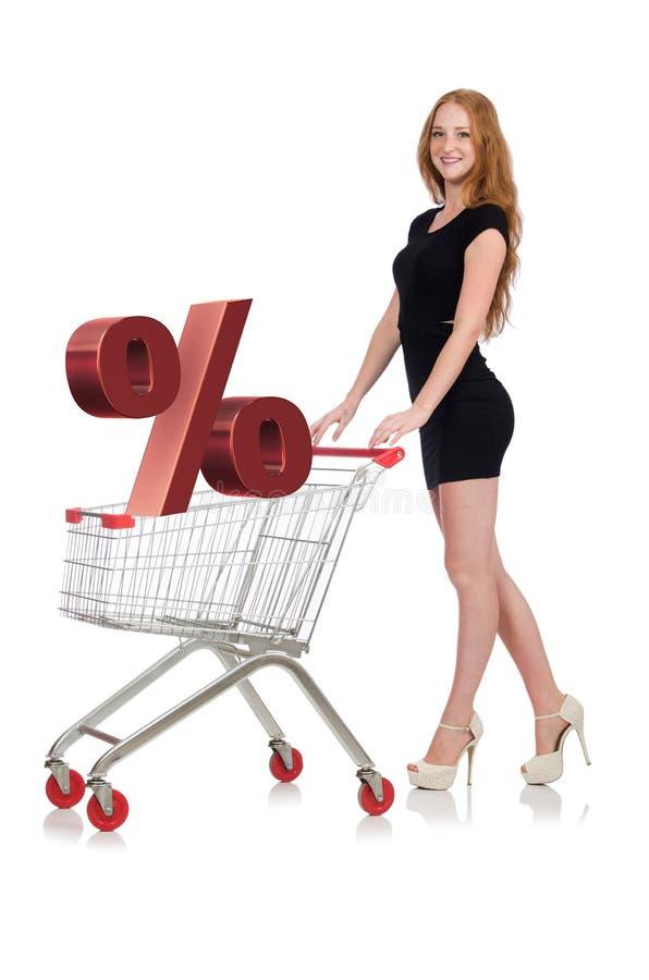 Молодая женщина делая покупки изолированные на белизне стоковое изображение rf