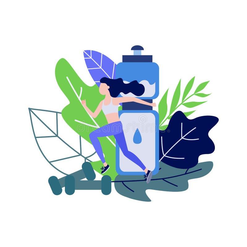 Молодая женщина делая спорт jogging против декоративных листьев и большой бутылки воды иллюстрация штока