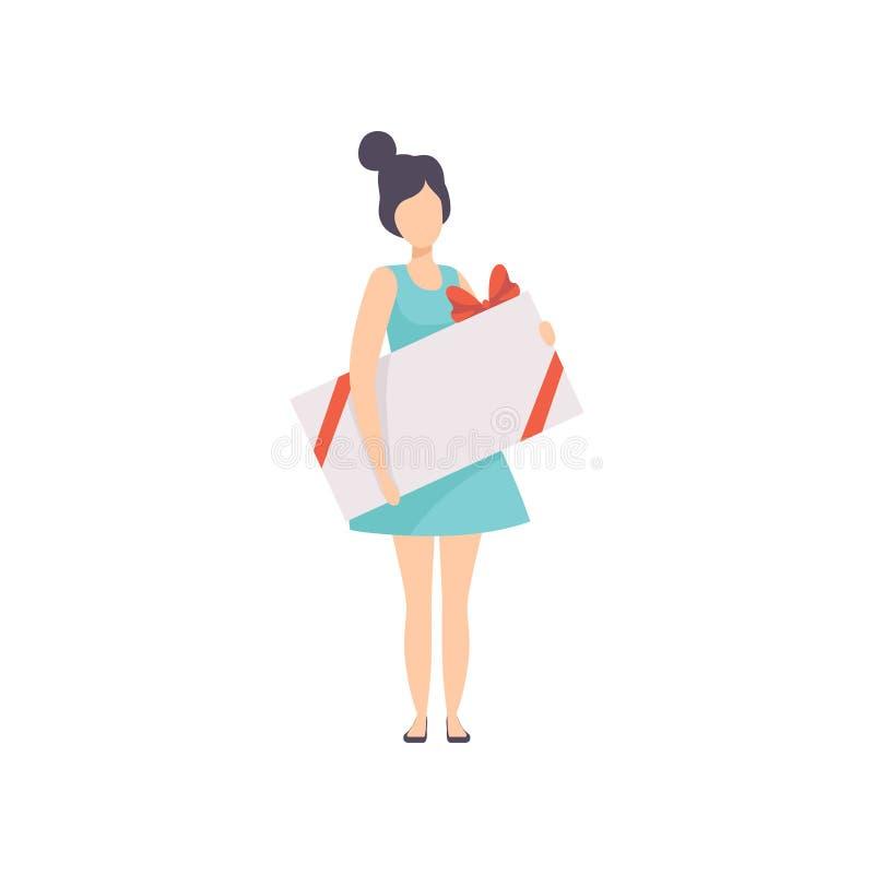 Молодая женщина держа большую подарочную коробку украшенный с красным смычком ленты, людьми празднуя вектор концепции праздников иллюстрация штока