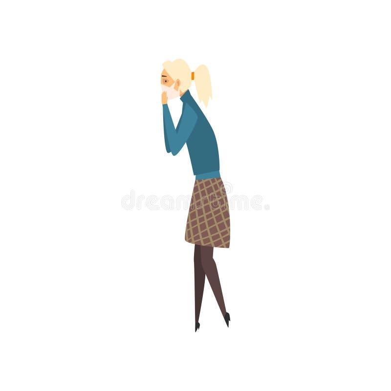 Молодая женщина нося защитную маску, страдание девушки от промышленной иллюстрации вектора смога бесплатная иллюстрация