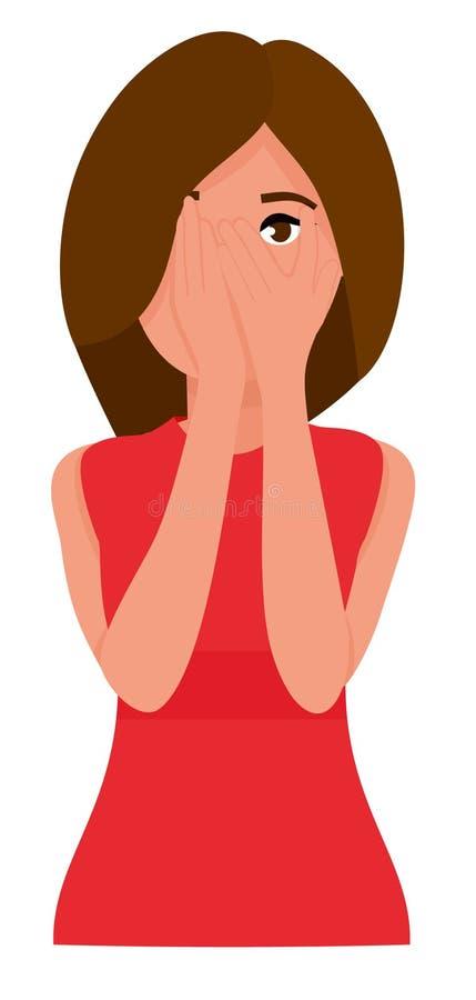 Молодая женщина прячет ее сторону в ее руках Плоские персонажи из мультфильма изолированные на белой предпосылке также вектор илл иллюстрация вектора