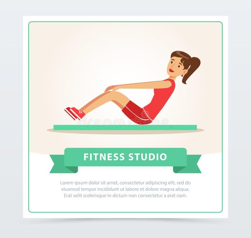 Молодая женщина разрабатывая на циновке тренировки, элементе вектора знамени студии фитнеса плоском для вебсайта или передвижном  иллюстрация вектора