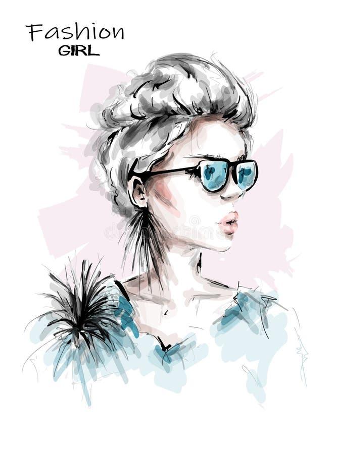Молодая женщина руки вычерченная красивая в солнечных очках Стильная девушка с короткими светлыми волосами Взгляд женщины моды r иллюстрация вектора