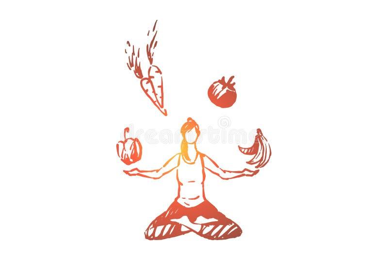 Молодая женщина сидя в представлении лотоса, раздумье и фитнесе, органических фруктах и овощах, здоровом образе жизни иллюстрация штока