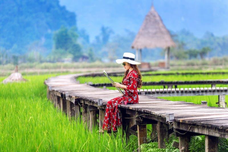 Молодая женщина сидя на деревянном пути с зеленым полем риса в Vang Vieng, Лаосе стоковая фотография rf