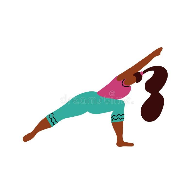 Молодая женщина стоит на 2 ногах в представлении йоги и размышляет Девушка йоги в положении фитнеса Милая яркая девушка выполняет иллюстрация вектора