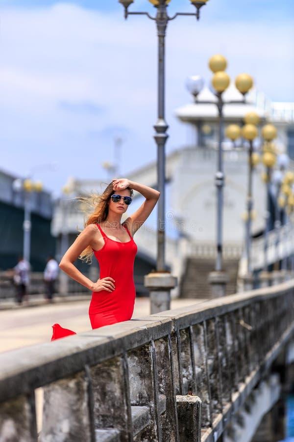 Молодая женщина стоя на мосте Sarasin стоковое изображение