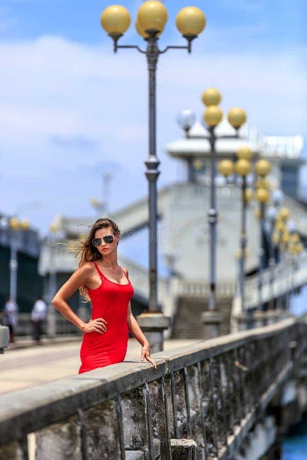 Молодая женщина стоя на мосте Sarasin стоковые изображения rf