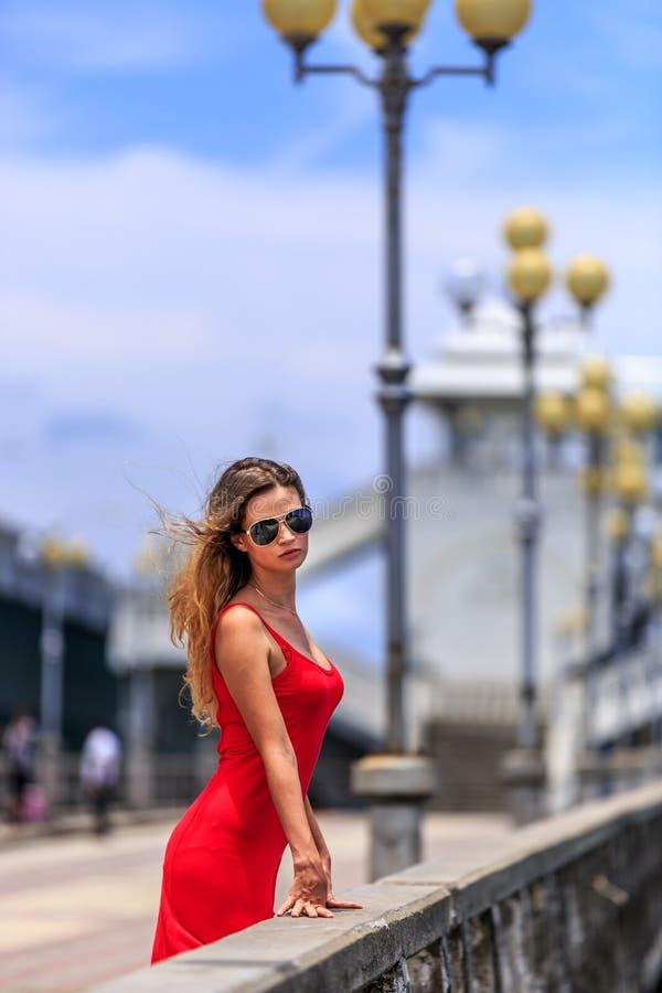 Молодая женщина стоя на мосте Sarasin стоковые фото