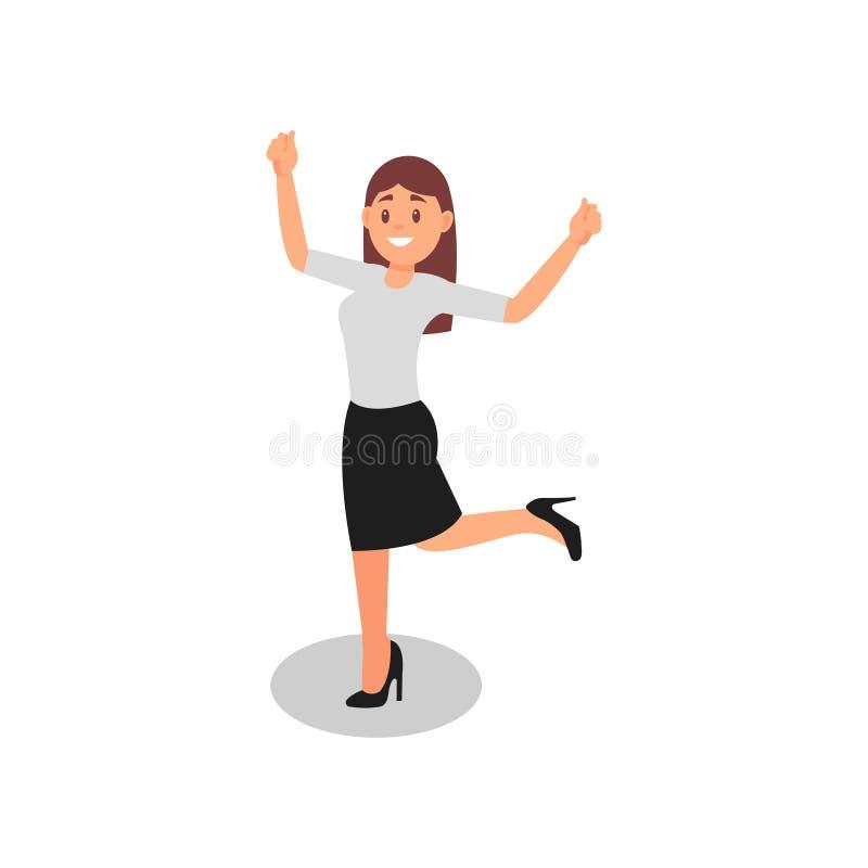 Молодая женщина стоя на одной ноге с руками вверх Счастливый работник офиса в официально обмундировании Плоский дизайн вектора иллюстрация штока