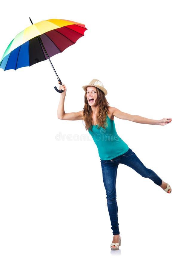 Молодая женщина с зонтиком стоковая фотография