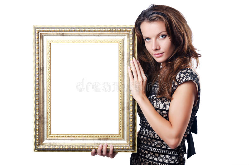 Молодая женщина с картинной рамкой стоковое изображение
