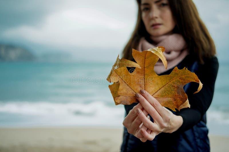 Молодая женщина с лист осени золота против моря в дождливом дне стоковое фото rf