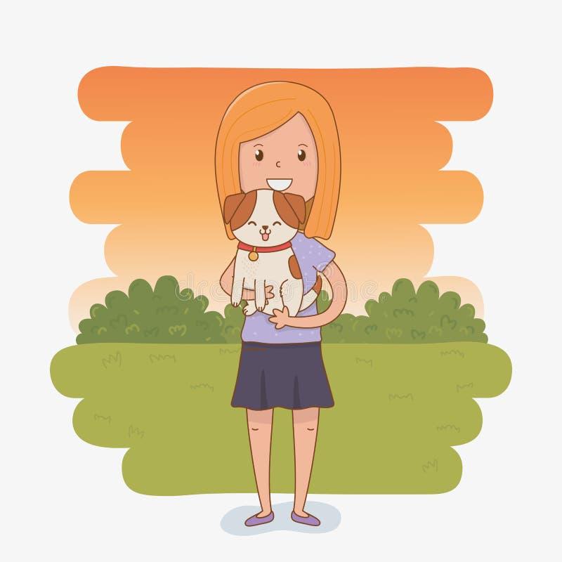 Молодая женщина с милым талисманом собаки иллюстрация вектора