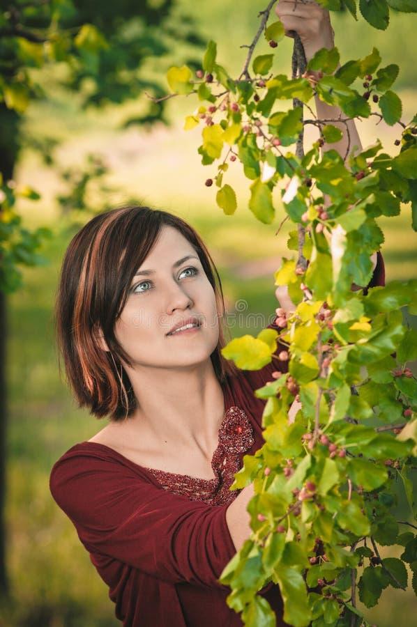 Молодая женщина с хворостиной шелковицы стоковое изображение rf