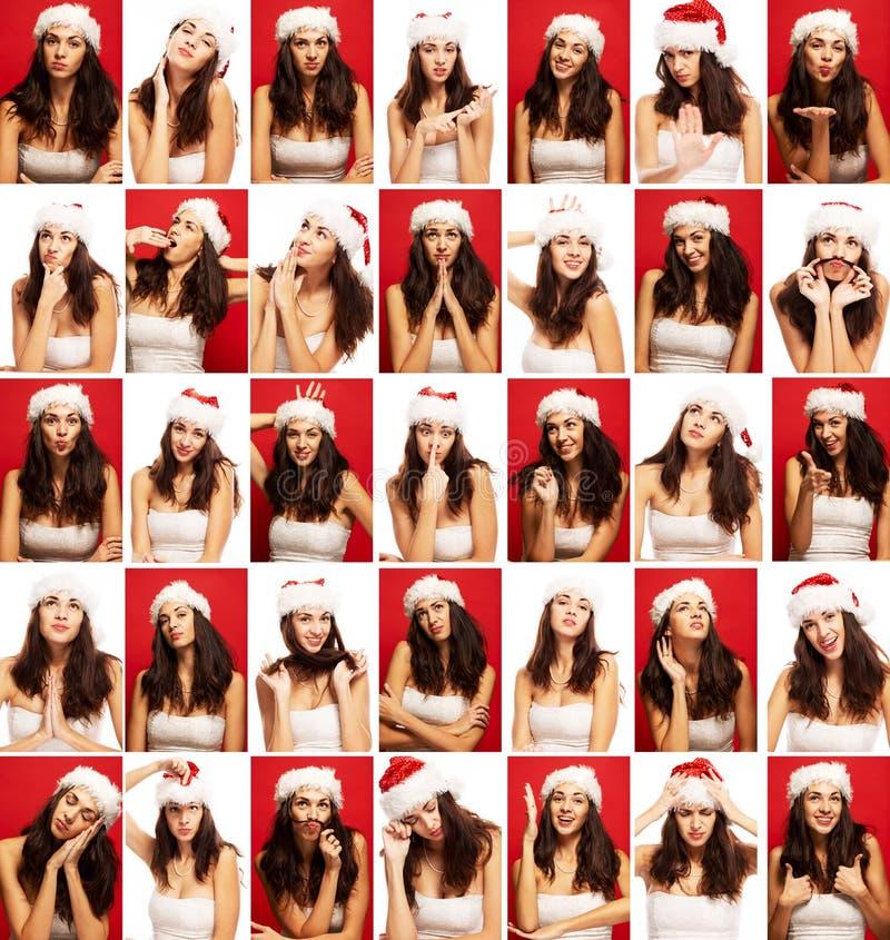 Молодая женщина, эмоции, сторона, коллаж, конец вверх, красная и белая предпосылка стоковая фотография rf