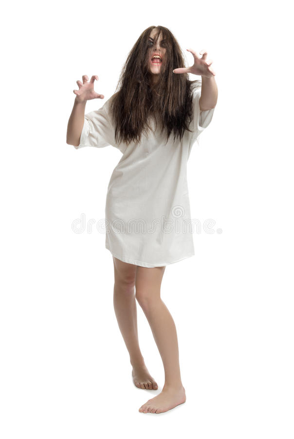 Молодая изолированная девушка зомби стоковая фотография