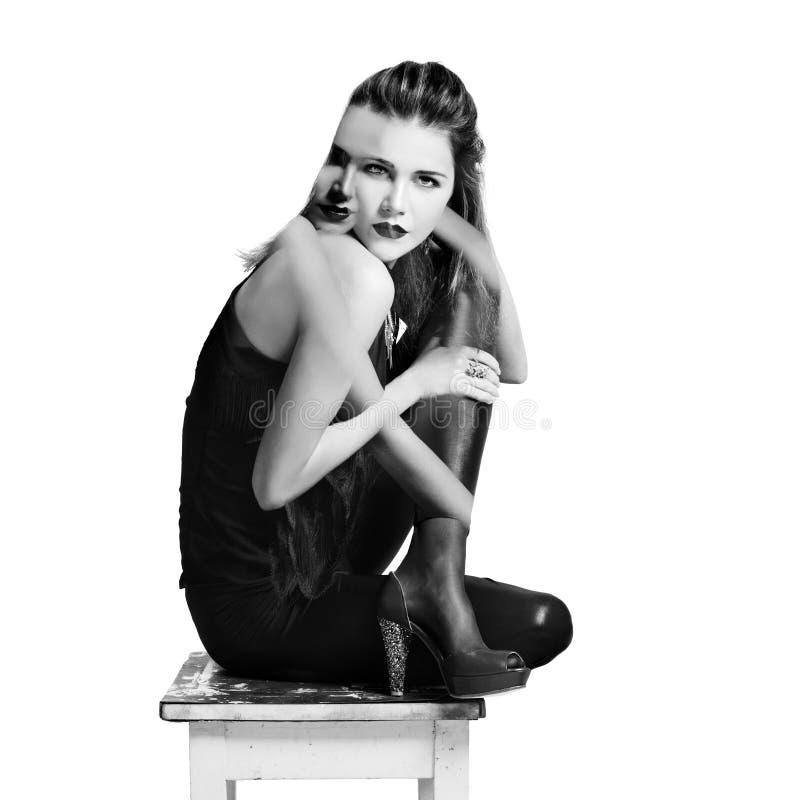 молодая изолированная личность модной женщины двойная стоковая фотография rf