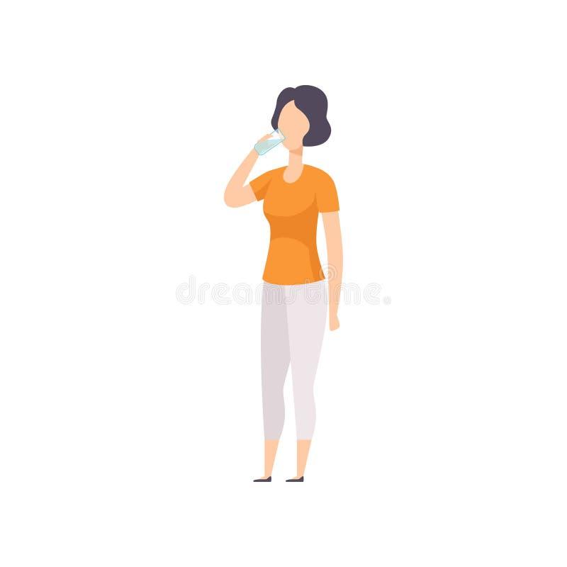 Молодая иллюстрация вектора питьевой воды женщины brinette на белой предпосылке иллюстрация штока