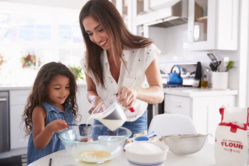 Молодая испанская девушка делая торт в кухне с помощью из ее мамы, талией вверх стоковое изображение