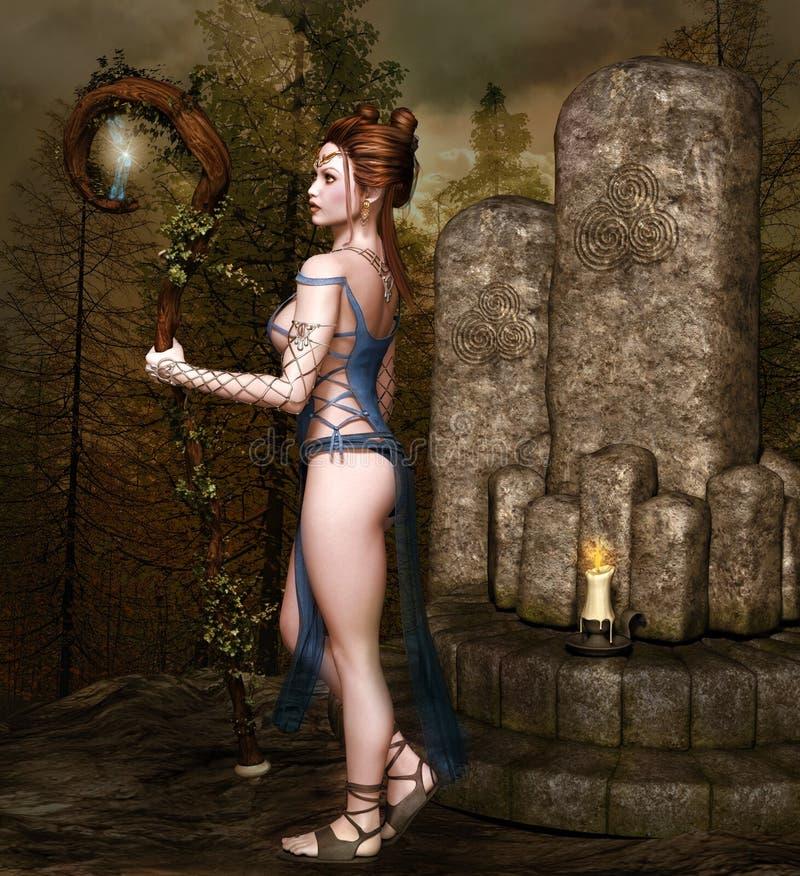 Молодая и сексуальная фея старым алтаром бесплатная иллюстрация