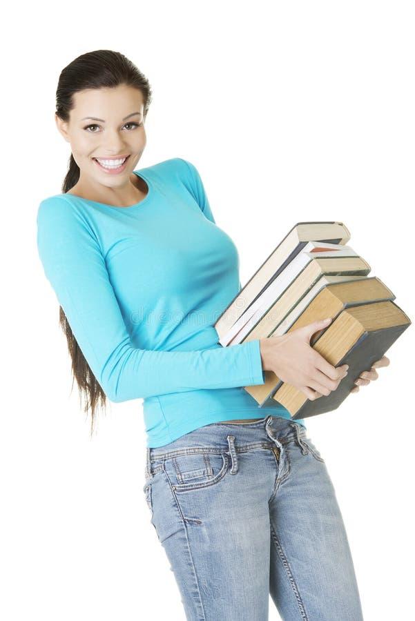 Молодая кавказская женщина (студент) с книгами стоковое изображение rf