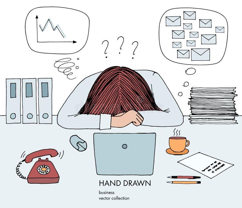 Молодая коммерсантка клала ее голову вниз на таблицу Кольца телефона, много почты ящика входящей почты, плохое расписание, отсутс иллюстрация штока