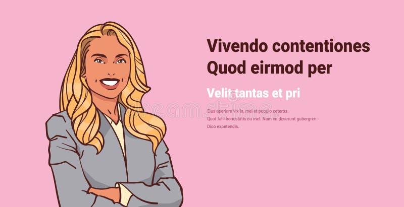 Молодая коммерсантка сложила руки представляет стиль искусства попа портрета персонажа из мультфильма улыбки бизнес-леди женский  бесплатная иллюстрация