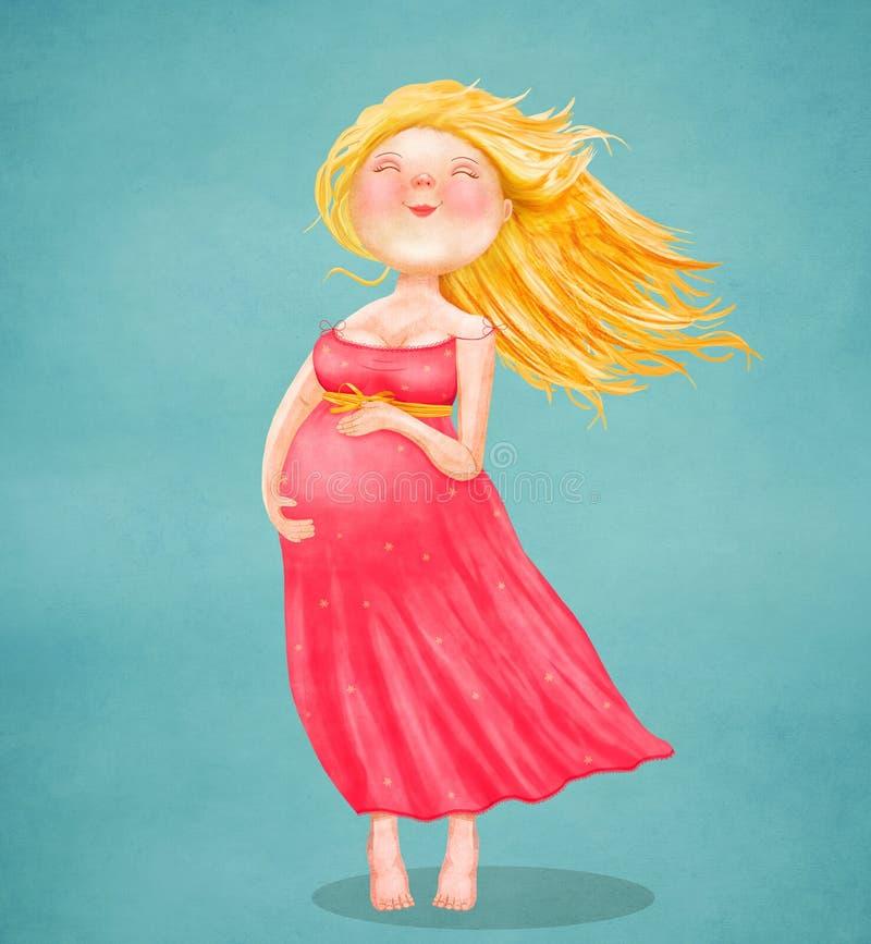 Молодая красивая беременная белокурая женщина в розовом платье на голубой предпосылке иллюстрация вектора