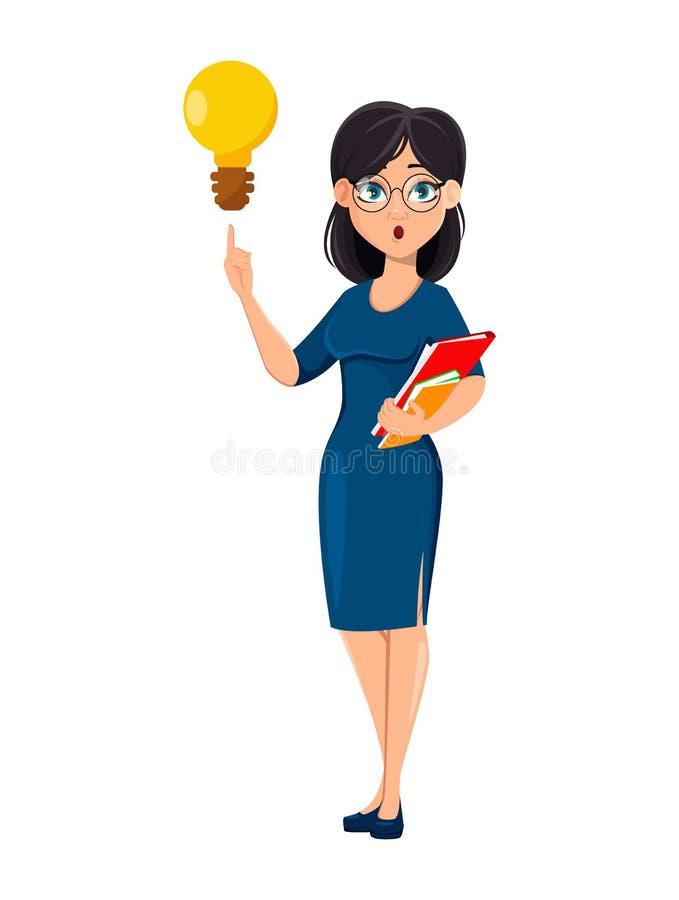 Молодая красивая бизнес-леди в голубом платье иллюстрация штока