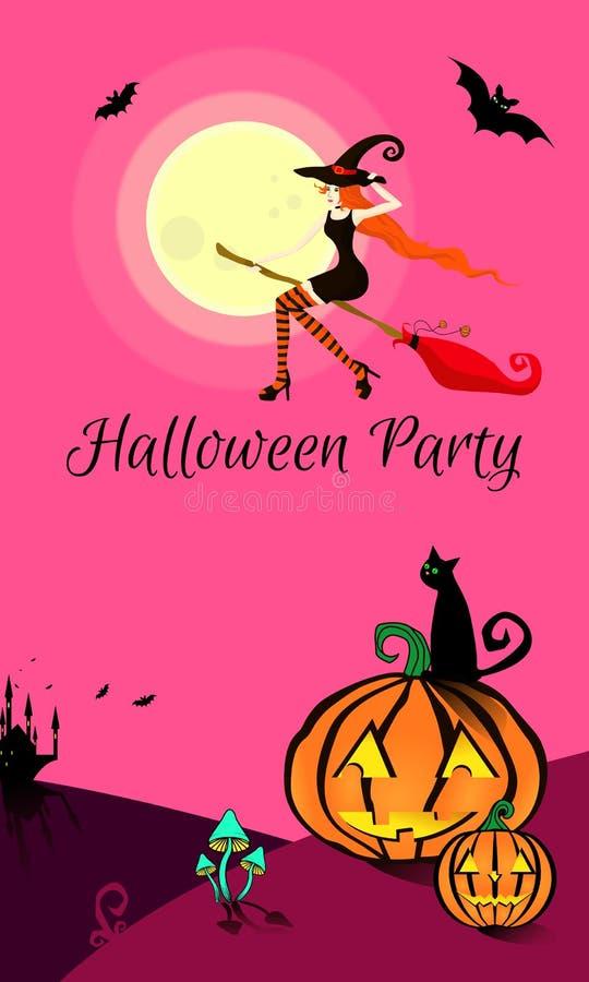Молодая красивая ведьма в черных плотных платье, шляпе и чулках летает на broomstick для партии хеллоуина иллюстрация вектора