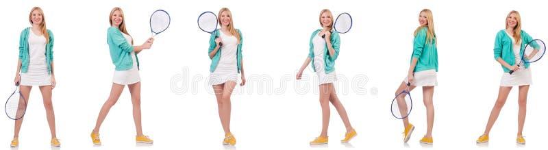 Молодая красивая дама играя теннис изолированный на белизне стоковое фото rf