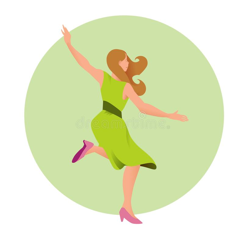Молодая красивая девушка в зеленых танцах платья также вектор иллюстрации притяжки corel Люди на круговой предпосылке в плоском с иллюстрация штока