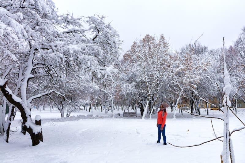 Молодая красивая женщина идет в зиму в снежном фантастическом парке города стоковые фотографии rf